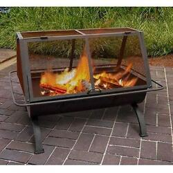 Outdoor Fire Pit Wood Burning Rustic Heater Patio Black Steel Fireplace Bowl New