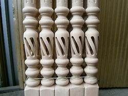 Open Spiral Stair Spindles Hollow Carved Wood Baluster Balcony Railing Staircase