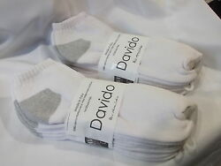 Davido women socks ankle low 100% cotton made in Italy white 8 pairs size 9 11 $15.50