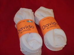 Davido women socks ankle low cut made in Italy 100%cotton 8 pair white size 9 11 $15.50