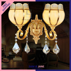 New DOUBLE SCONCE Brass Wall Lamp Art Deco Vanity Light Porch Hallway LED Copper