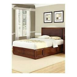 Home Styles Duet Platform King Panel Bed Brown Microfiber Inset Rustic Chery