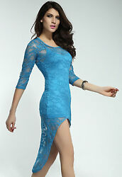 Fancy Mini Dress with Lace Sleeves Train Blue $24.49