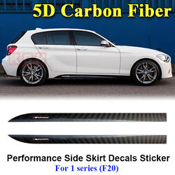 M Performance Side Skirt Stripe 5D Carobn Fiber Sticker for BMW 1 Series F20 F21