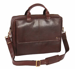 Luxury REAL Leather Brown Briefcase Man Women A4 File Laptop Office Business Bag