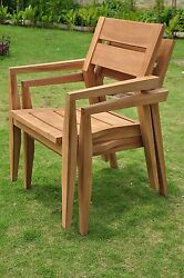 Qty 2 - Vellore A-Grade Teak Wood Dining Stacking Arm Chair Pair Outdoor
