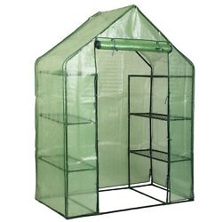 Portable Mini 8 Shelves Walk In Greenhouse Outdoor 4 Tier Green House US Stock