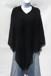 100% Cashmere Knit Poncho Tibetan Yarn Hand Loomed Solid: Black 1 Size