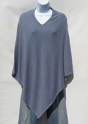 100% Cashmere Knit Poncho Tibetan Yarn Hand Loomed Solid: Blue 1 Size