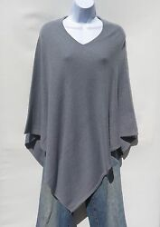 100% Cashmere Knit Poncho Tibetan Yarn Hand Loomed Solid: Steel Blue 1 Size