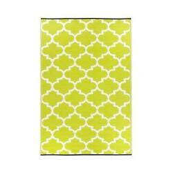 NEW Fab Habitat Tangier IndoorOutdoor Rug 3 by 5-Feet Celery and White