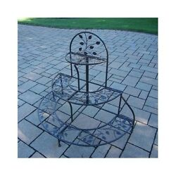 Outdoor Patio Plant Stand Semi Circle Flower Pots Iron Metal Frame Balcony New