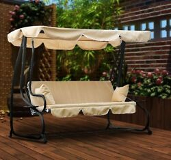 Outdoor Covered Swing Porch Bed Patio Summer Furniture Garden Deluxe Set 3 Seat