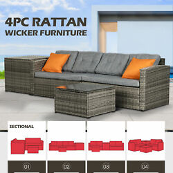 Rattan Wicker Sofa Set Sectional Couch Cushioned Furniture Patio Outdoor Gray