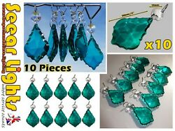 10 PEACOCK GREEN CHANDELIER CUT GLASS CRYSTALS BEADS ANTIQUE LEAF VINTAGE STYLE GBP 21.99