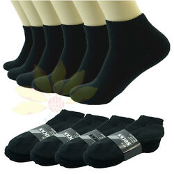3 6 9 12 Pairs BLACK Ankle Quarter Crew Mens Socks Cotton Low Cut Size 10 13 $5.99
