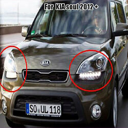 Front Head Lights DRL Projection Lamp Assembly OEM 2P For 2012+ Kia Soul