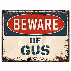 PBFN 0637 Beware of GUS Plate Rustic Chic Sign man cave Decor Funny Gift $19.95