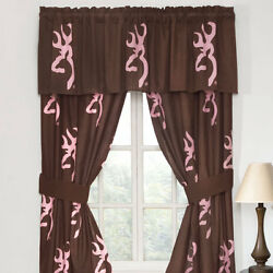 Browning Pink Buckmark Cotton Country Cabin Decor Lined Window Drapes