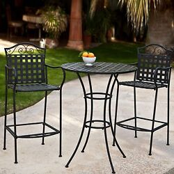 NEW Wrought Iron 3 Piece Bistro Patio Dining Set Table Chairs Furniture Outdoor