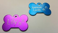 PET TAG BONE WITH PAWS DIAMOND ENGRAVED ID DOG TAGS 2 SIDE CUSTOM PERSONALIZED $3.95