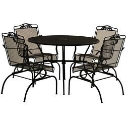 Wrought Iron Dining Set 5 Piece Action Rocking Patio Chairs Outdoor Lawn Garden