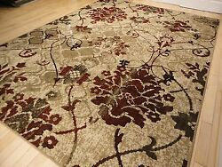 Modern Rug Contemporary Area Rugs Burgundy 8x10 Abstract Carpet 5x7 Flower Rugs $99.98