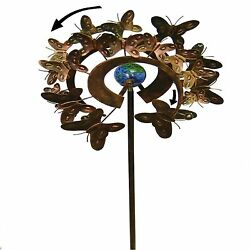 Outdoor Colorful Wind Spinner Garden Butterfly Dual Motion Kinetic Windmill NEW
