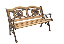 Wood Inlay Patio Park Bench garden outdoor patio chair porch yard lawn chair NEW