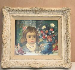MAGNIFICENT OC ITALIAN PAINTING OF GIRL & CLOWNS BY JEAN CALOGRO LISTED ARTIST