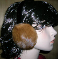 BRAND *NEW*NATURAL WILD TYPE COLOR MINK FUR EARMUFFS $39.99