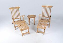 Teak Outdoor Steamer Chair 3 Piece Set
