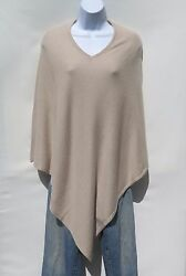 100% Cashmere Knit Poncho Tibetan Yarn Hand Loomed Solid: Beige 1 Size