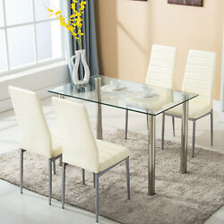 5 Piece Dining Table Set Glass Metal with 4 Chairs Kitchen Dining Room Furniture