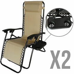 2 Zero Gravity Lounge Beach Chairs+Utility Tray Folding Outdoor Recliner in Tan