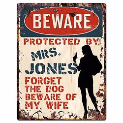 PPBW 0005 Beware Protected by MRS. JONES Rustic Chic Sign Funny Gift Ideas $19.95