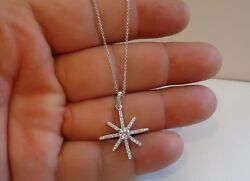 925 STERLING SILVER STAR DESIGN PENDANT NECKLACE W 1 CT ACCENTS  NEW DESIGN!
