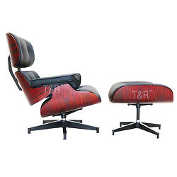 Eames Plywood Lounge Chair and Ottoman with Black Premium High Grade PU Leather