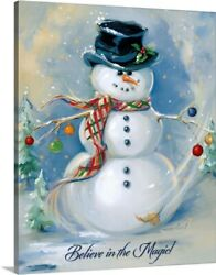 Solid-Faced Canvas Print Wall Art entitled Snowman Magic