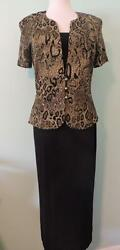 DANNY amp; NICOLE CLASSY LONG SZ 10 DRESS W ANIMAL PATTERN. GOLD THREADS BUTTONS $35.00