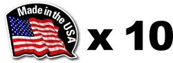 10 PIECE SMALL OUTDOOR DURABLE MADE IN THE USA FLAG DECAL STICKER 2quot;x1.5quot; $5.99