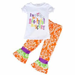 Girls Ghost Halloween Outfit Boutique Toddler Kids Clothes Leggings Shirt 4-8 US $14.99