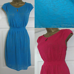 NEW Mantaray Beach Holiday Summer Dress Stretch Jersey Burnout Pink Blue 8-20 $10.41