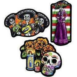 Day of the Dead Cutout Set 18quot; Paper 3 Pack Halloween Wall Decorations $4.29