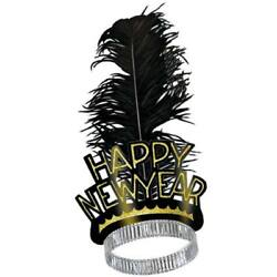 Happy New Year Swing Tiara Adult Feather Paper Gold New Years Eve Party Supplies $2.69