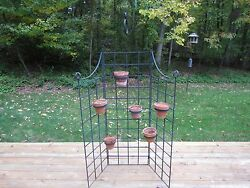 Vintage Wrought Iron Six Pot Plant Stand Garden Screen Trellis Planter Fence