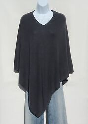 100% Cashmere Knit Poncho Tibetan Yarn Hand Loomed Solid: Charcoal Gray 1 Size