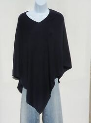 100% Cashmere Knit Poncho Tibetan Yarn Hand Loomed Solid: Navy Blue 1 Size