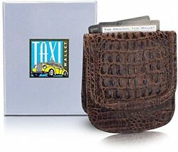 Taxi Wallet Men's BROWN CROCO Italian LEATHER Minimalist Front Pocket Card Coin