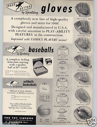 1959 PAPER AD Spalding Baseball Gloves Don Drysdale Bill Dickey Whitey Ford $10.99